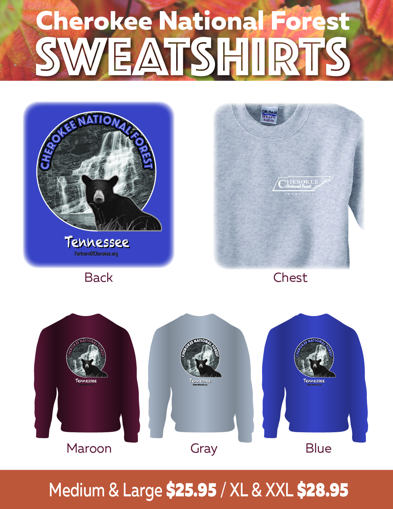 Sweatshirts celebrating the Cherokee National Forest